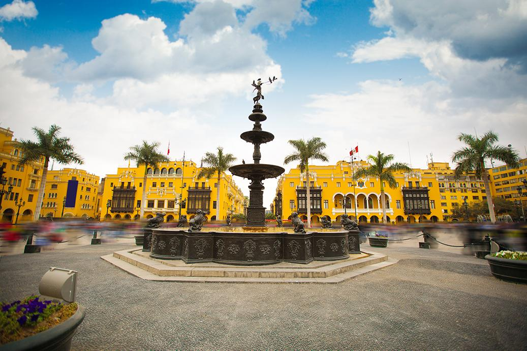 Explore fountains and traditional city landscapes in Lima Peru