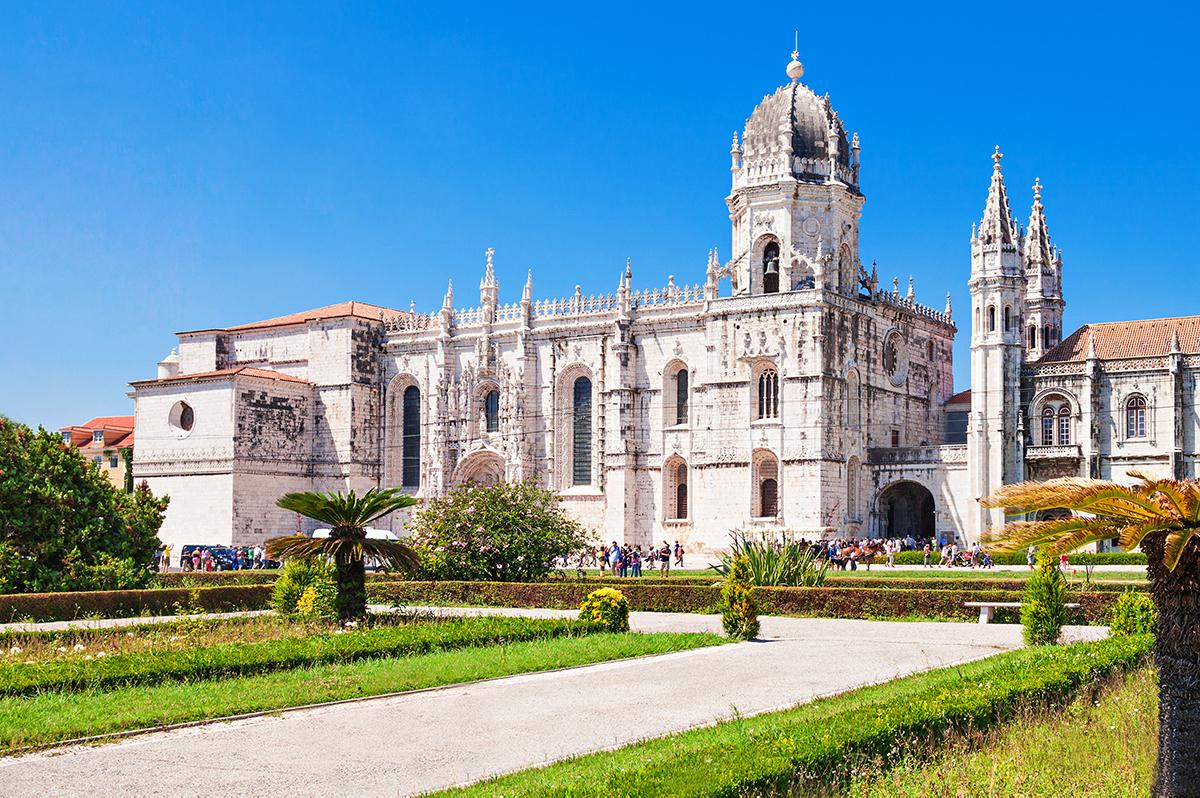 Beautiful view of the Jeronimos Monastery in Belem, Lisbon