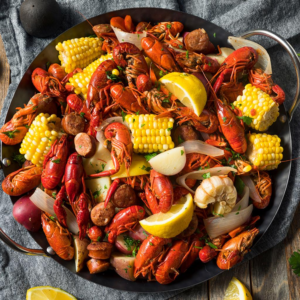 Crawfish boil, a traditional dish in Louisiana