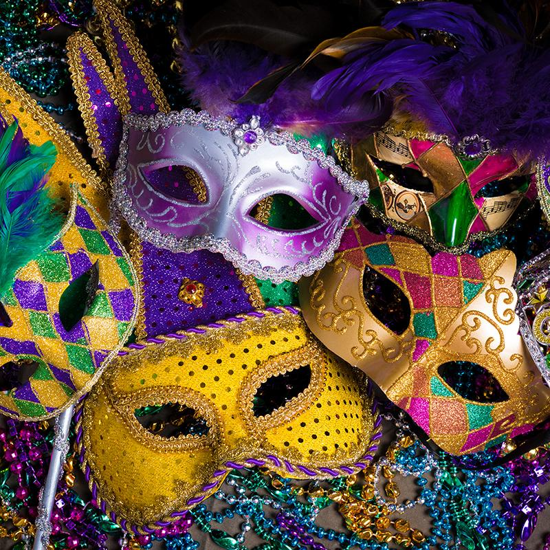 Masquerade masks from Mardi Gras in New Orleans Louisiana