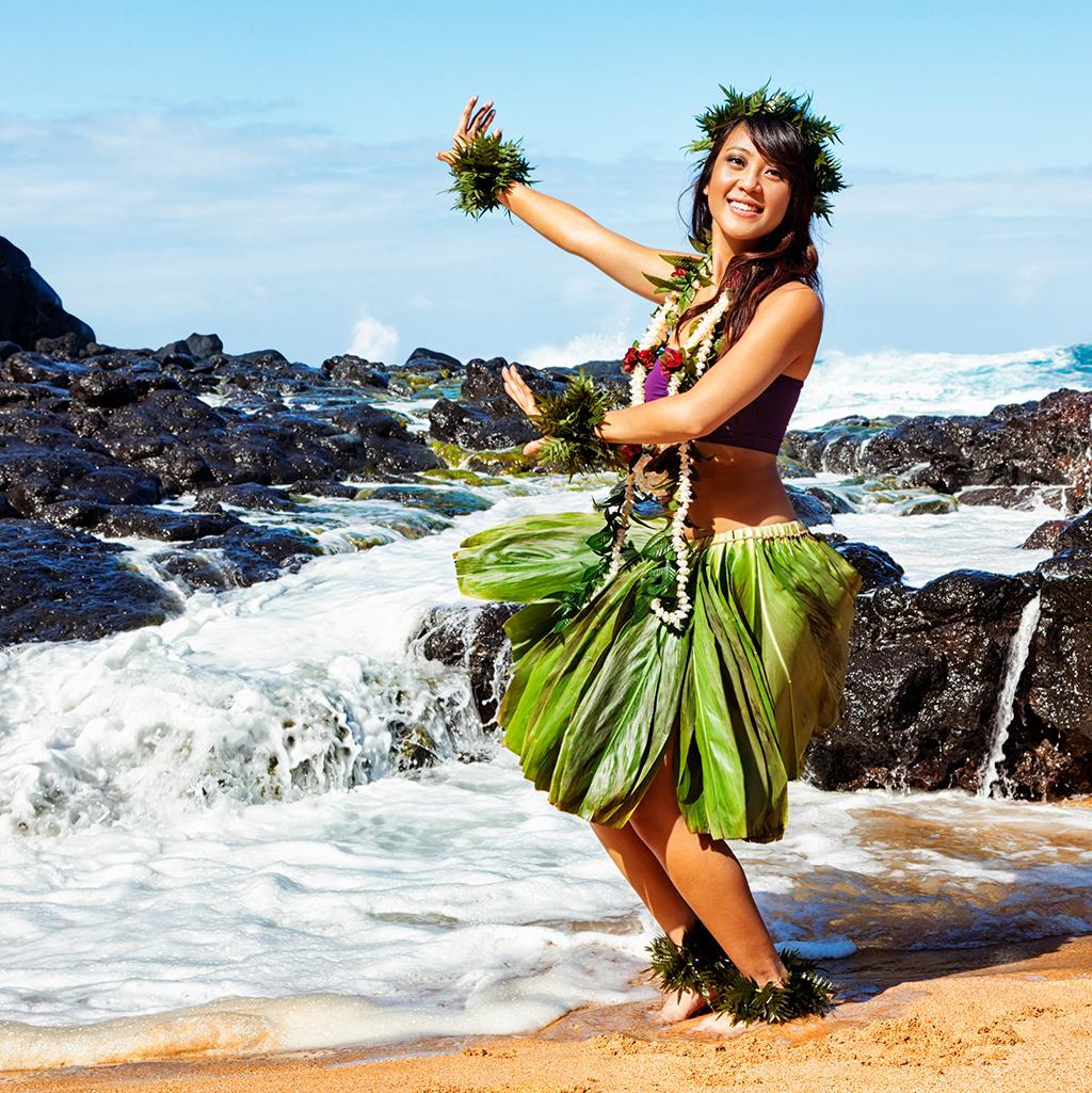 Hula dancer on the beach in Maui