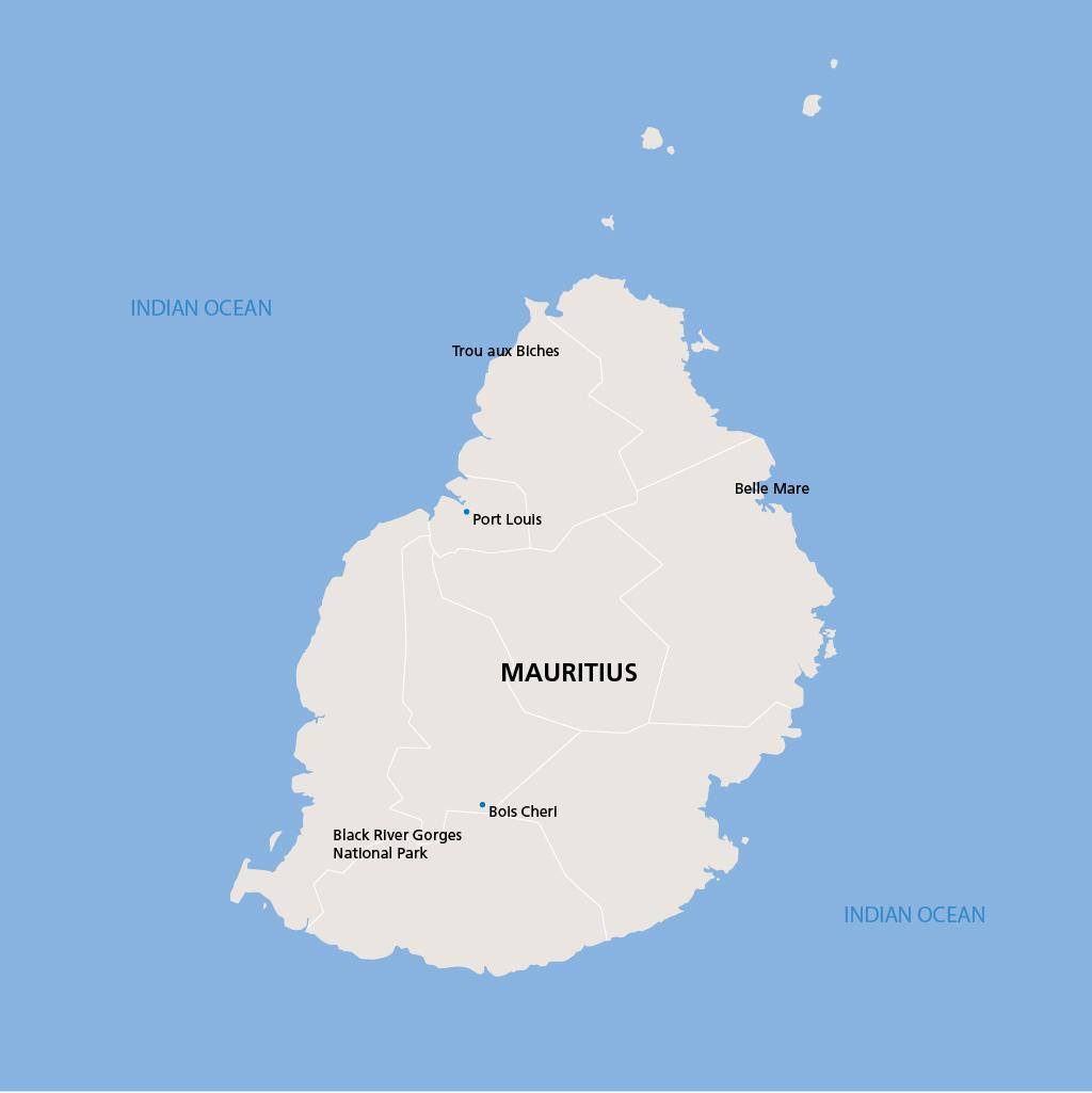 Mauritius vacation map