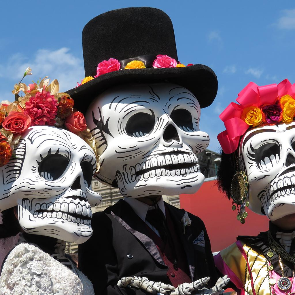Skeleton masks and dolls from Mexico City