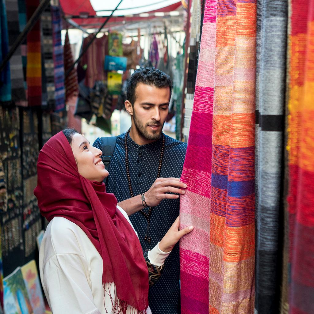 Shopping in open air markets in the Middle East