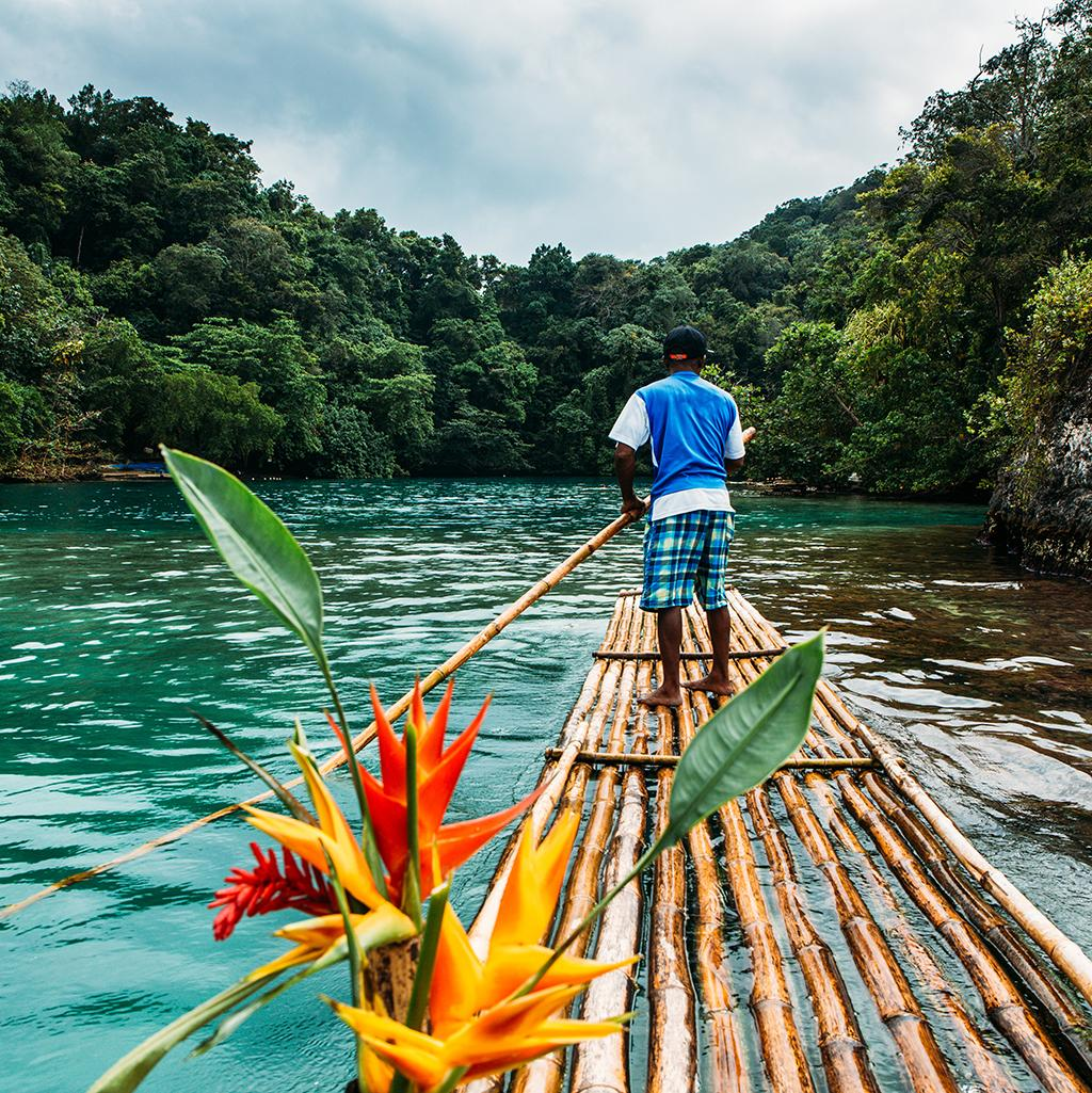 Traditional bamboo raft tour in Montego Bay Jamaica