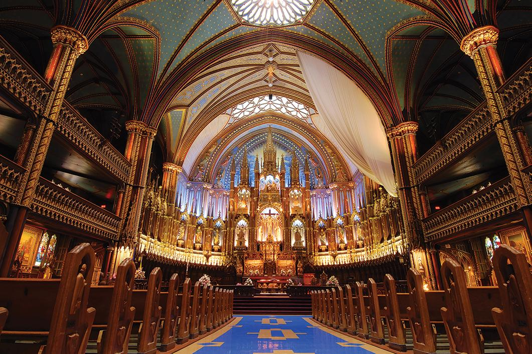 Views inside the Notre-Dame Basilica in Montreal