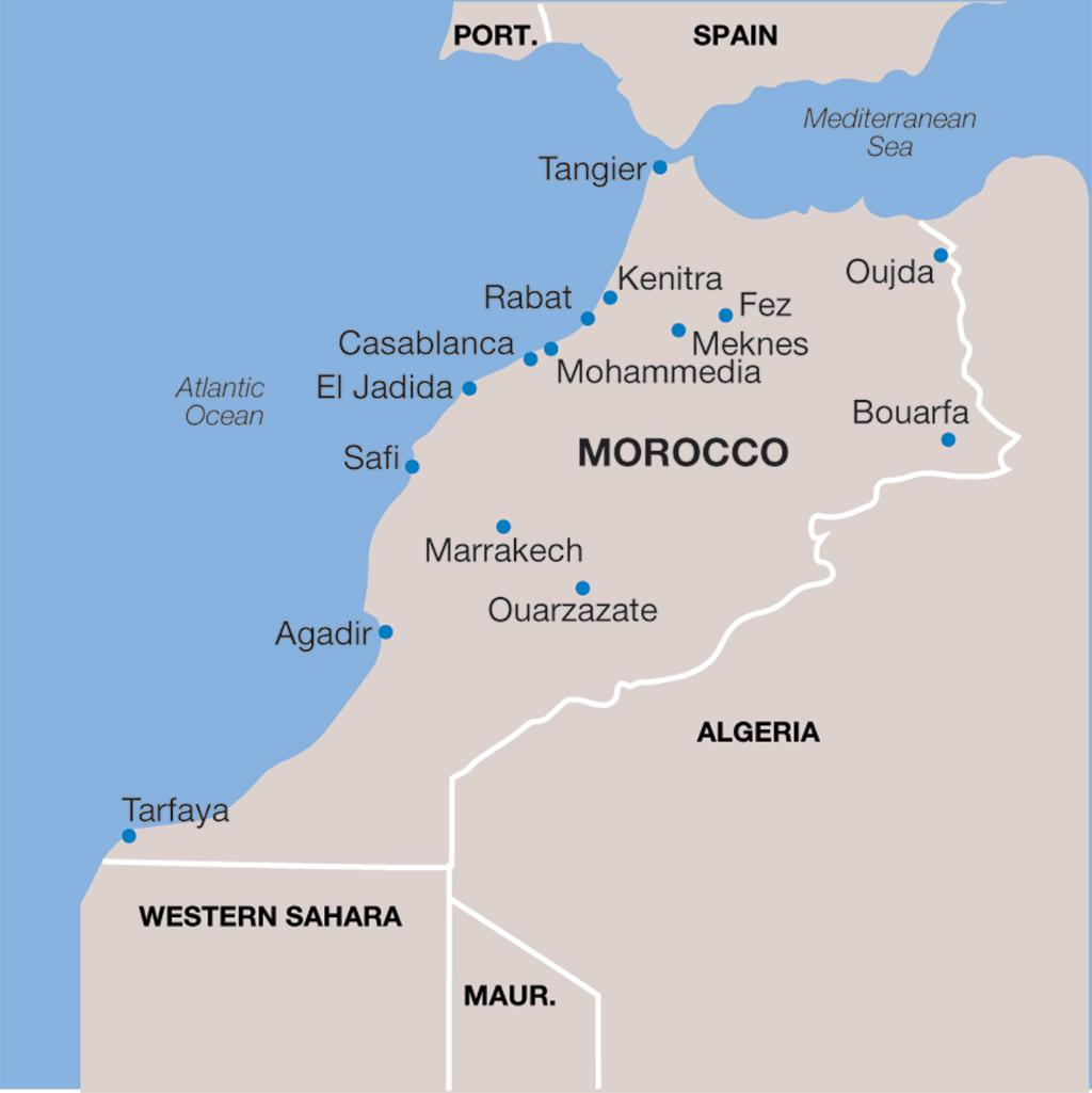 Morocco vacations map