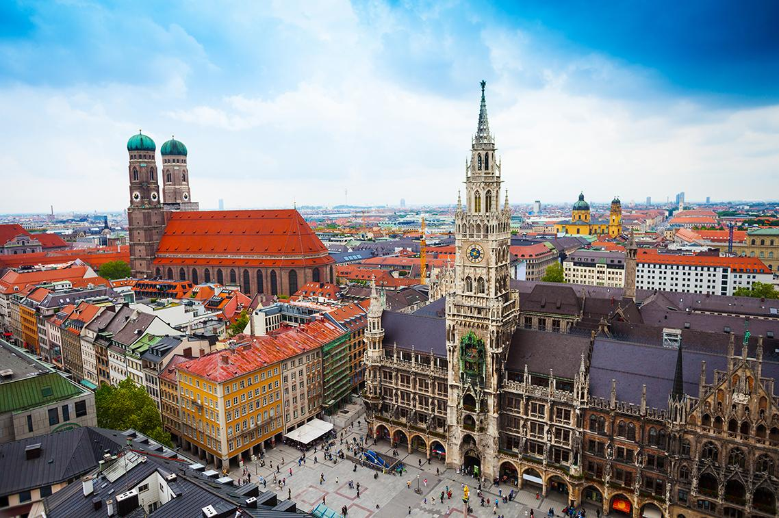Aerial views of Munich's colorful architecture