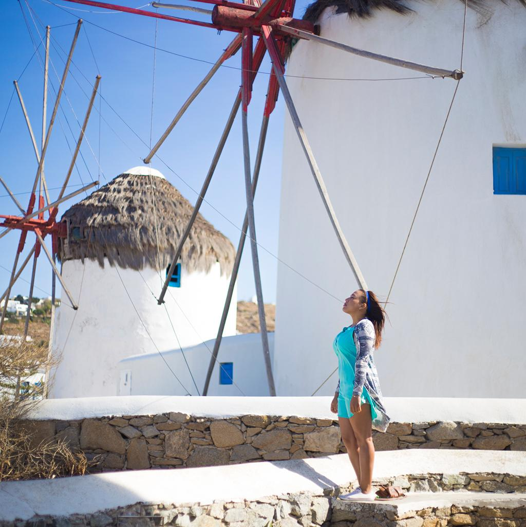 Colorful windmills on the Greek island of Mykonos