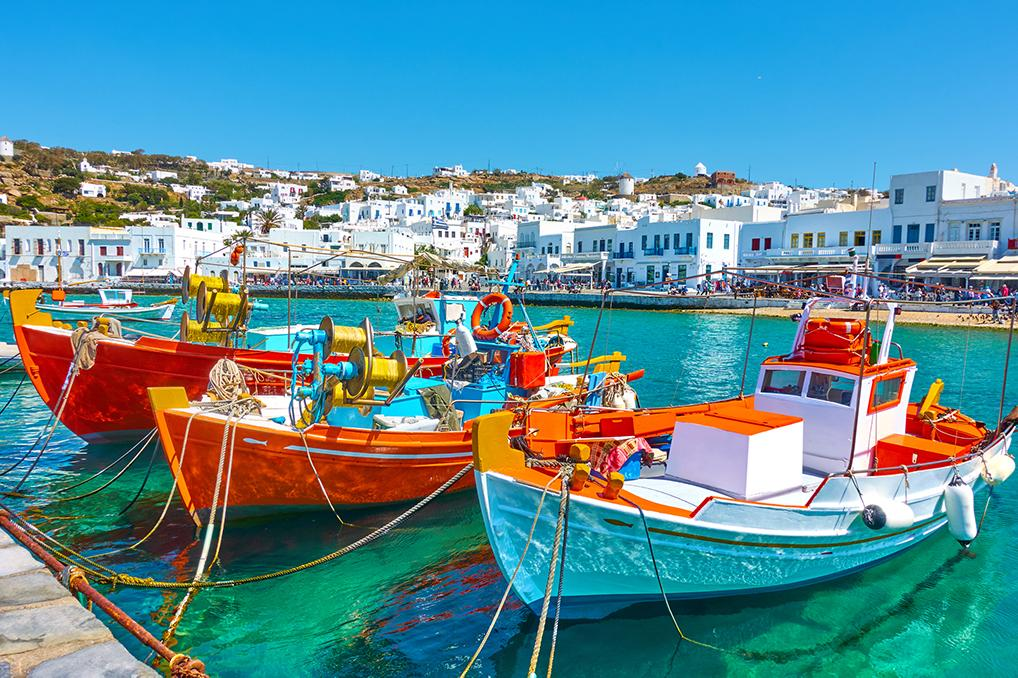 Colorful boats in the harbor of Mykonos