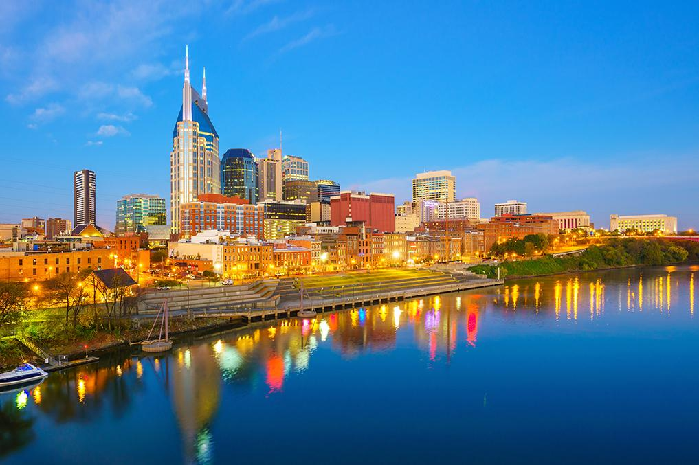 Nashville's skyline from the river in the evening