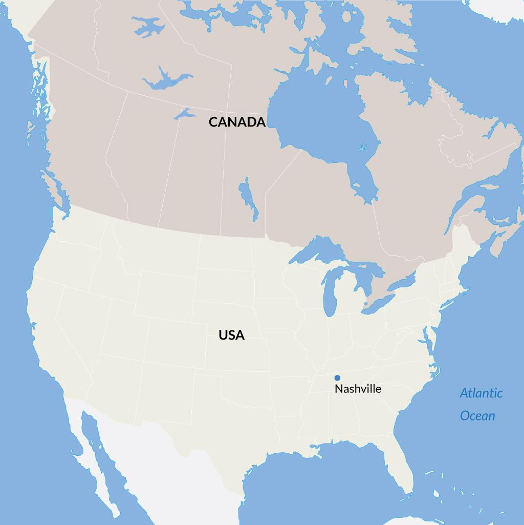 Nashville vacations map