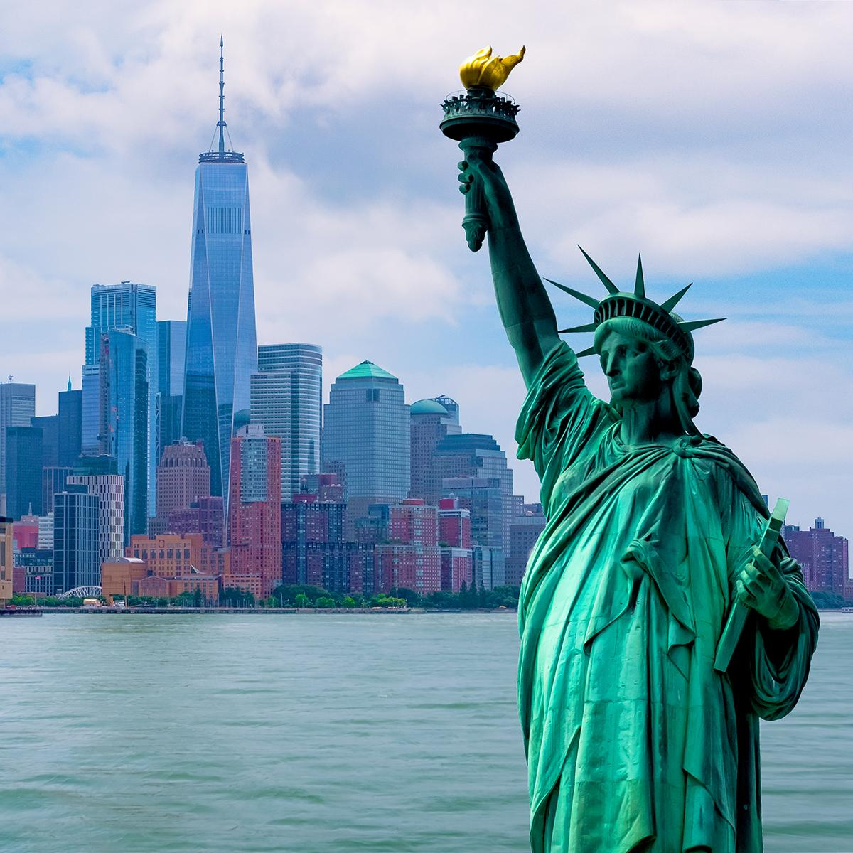 Views of the Statue of Liberty and New York City's skyline