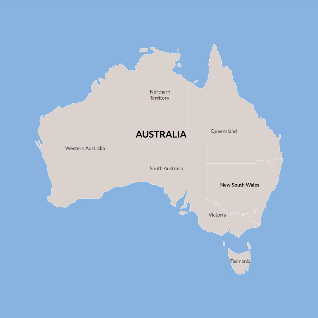 New South Wales vacations map