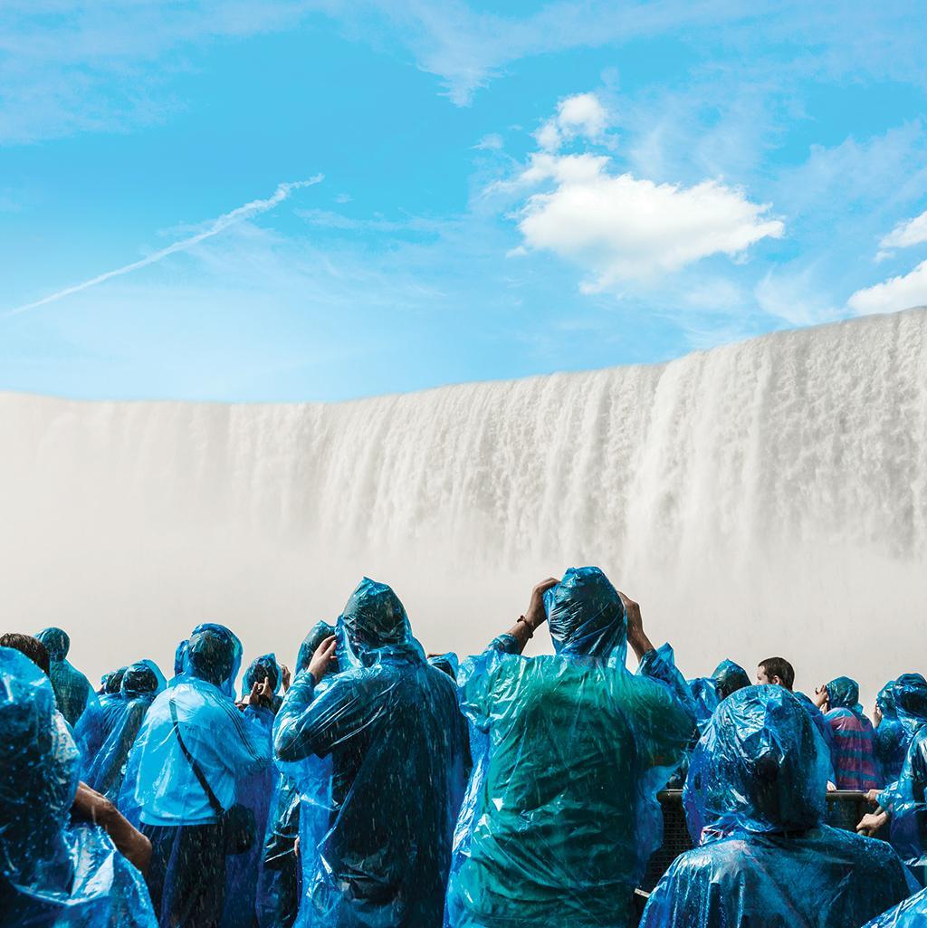 Viewing the rushing falls from a Niagara falls guided tour boat