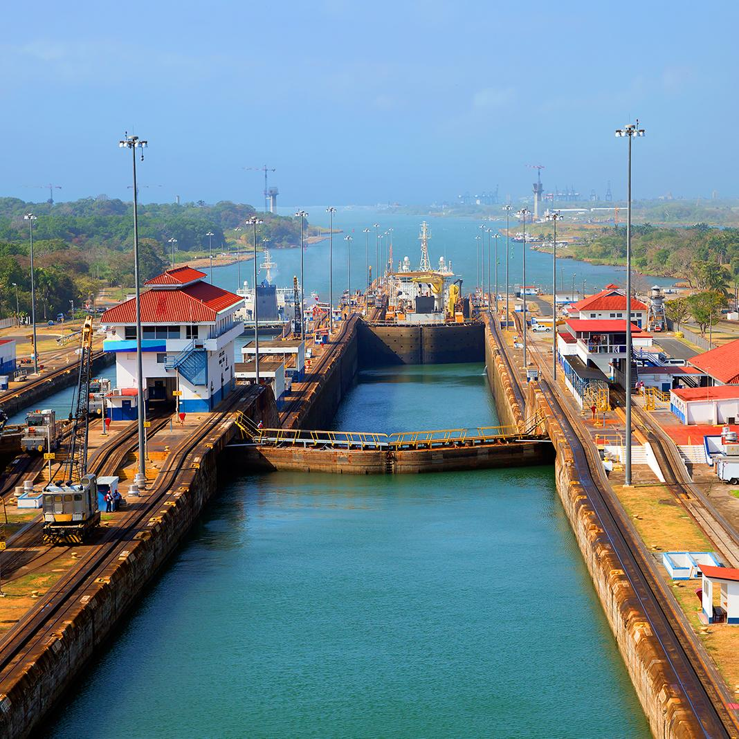 Views of the Panama Canal's locks