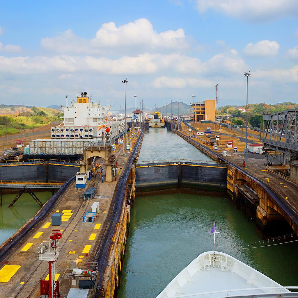 Going through the locks of the Panama Canal