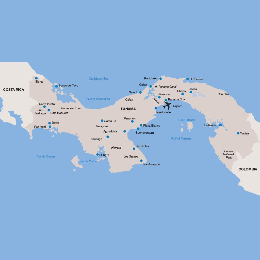 Panama vacation map