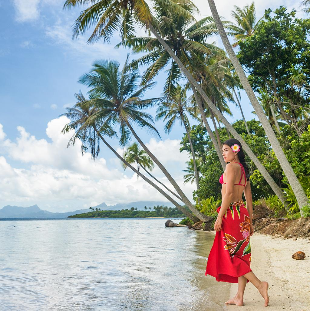 Walking along the beach in Papeete Tahiti