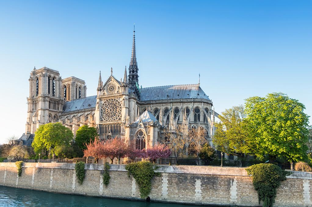 Views of Gothic architecture with Paris tours