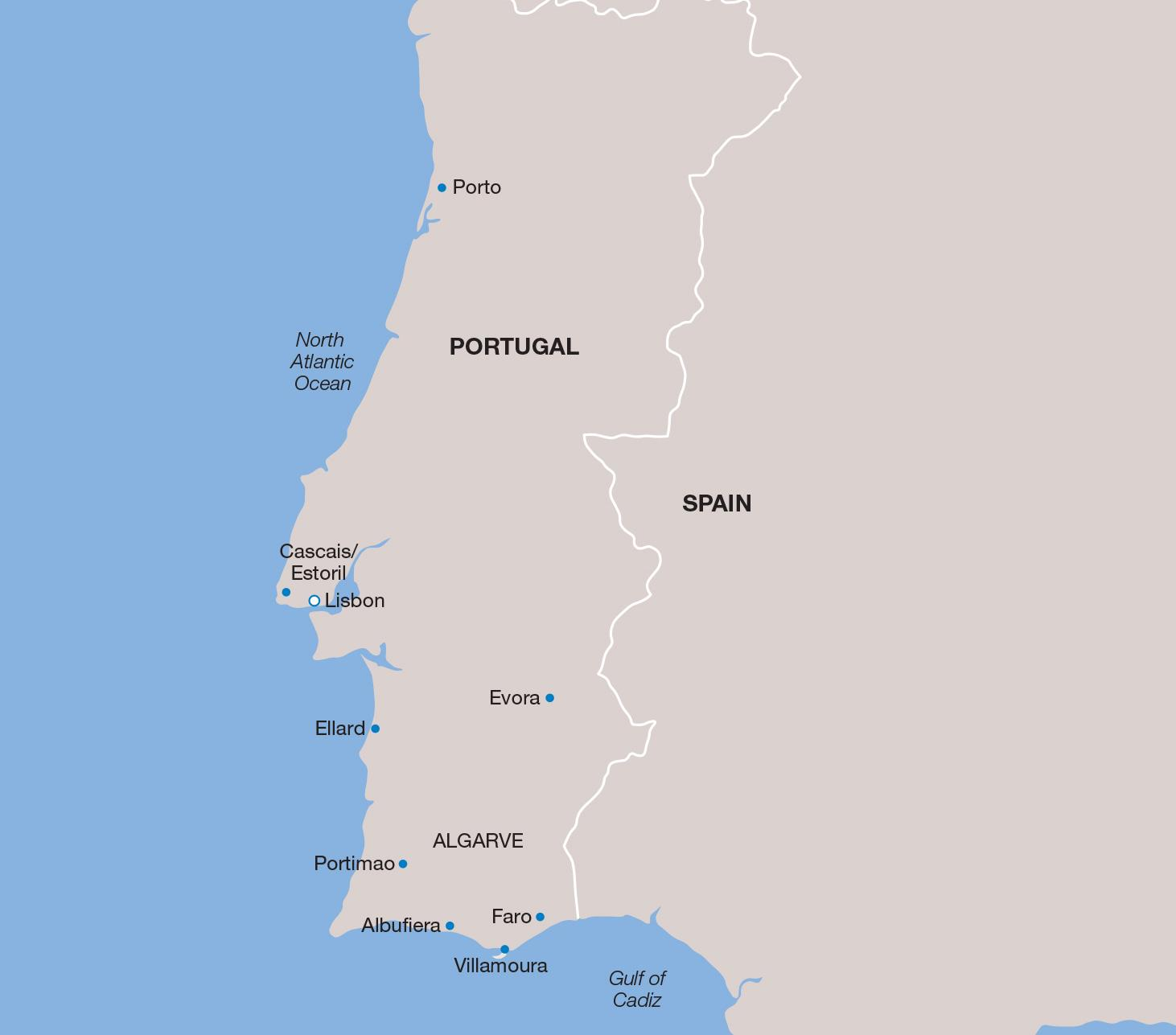 Portugal vacation map