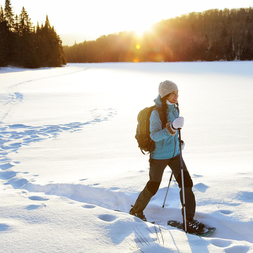 Snowshoeing through the Quebec wilderness