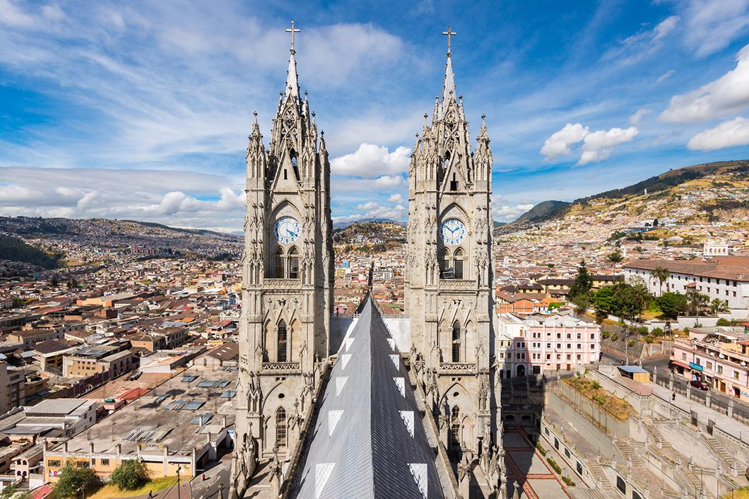 Visit churches and modern buildings in Quito, Ecuador