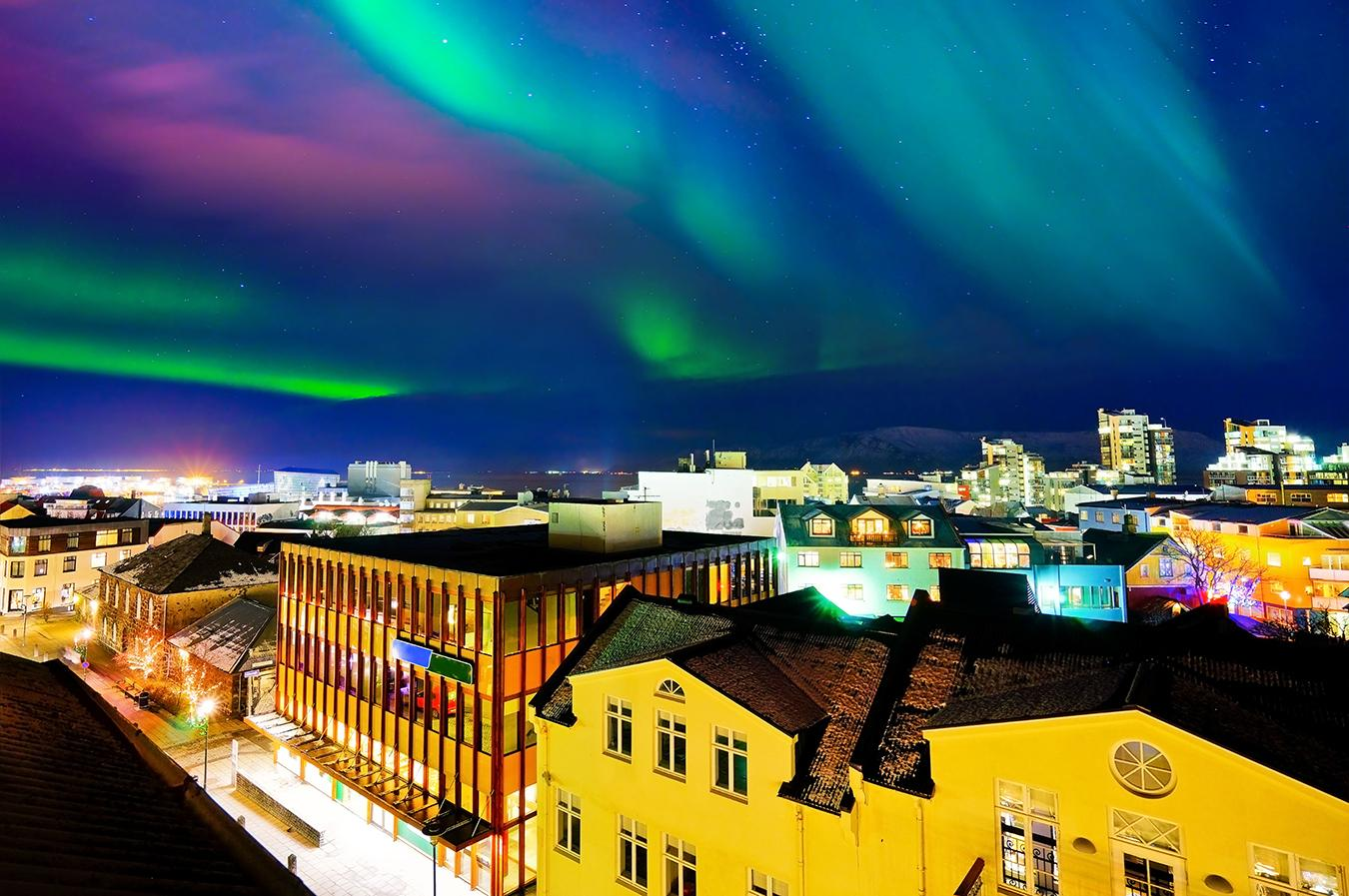 Views of the northern lights over Reykjavik Iceland