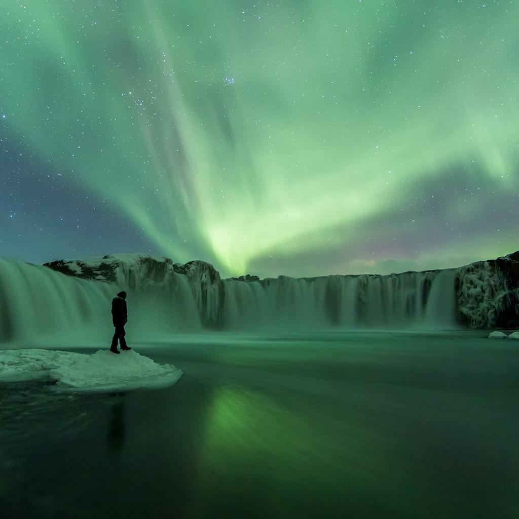 viewing the northern lights in Reykjavik, Iceland