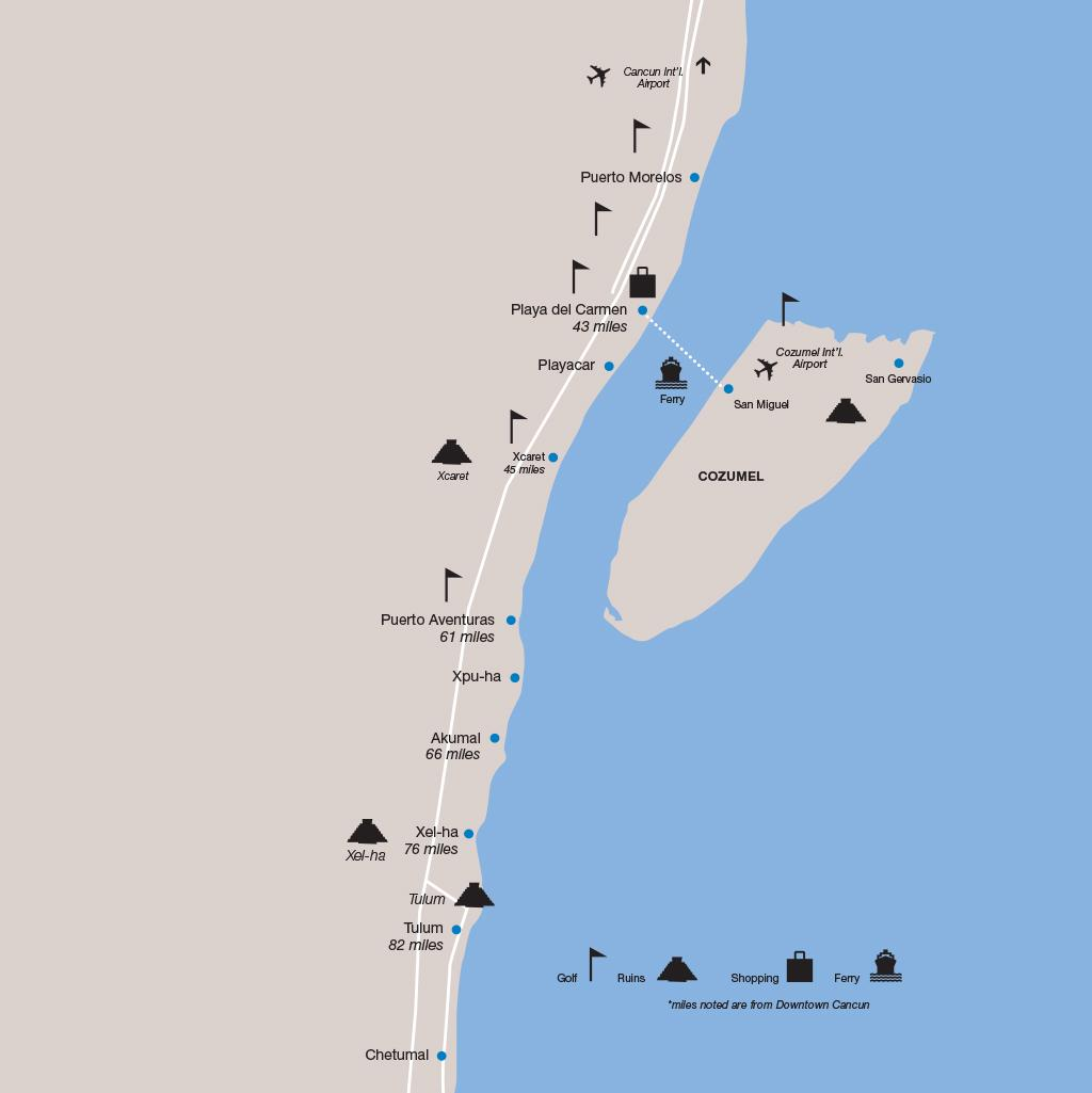 Riviera Maya vacations map