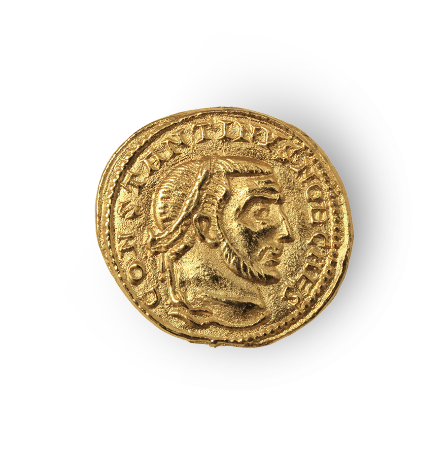 a golden Roman denarii coin