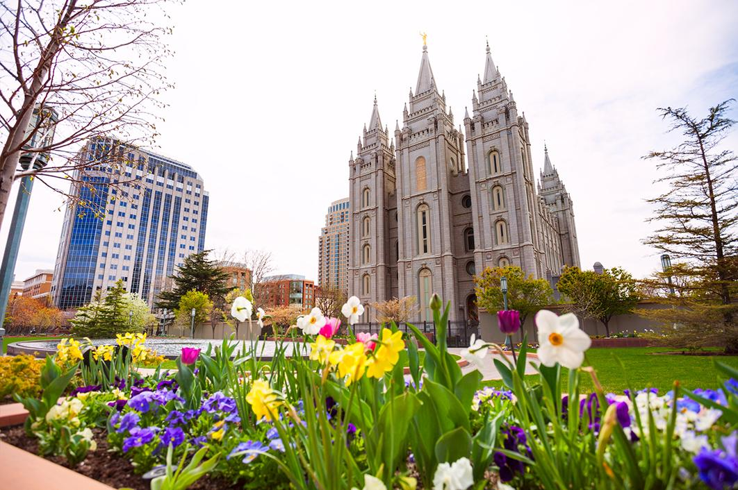 Views of traditional Mormon temples and modern buildings in Salt Lake City, Utah