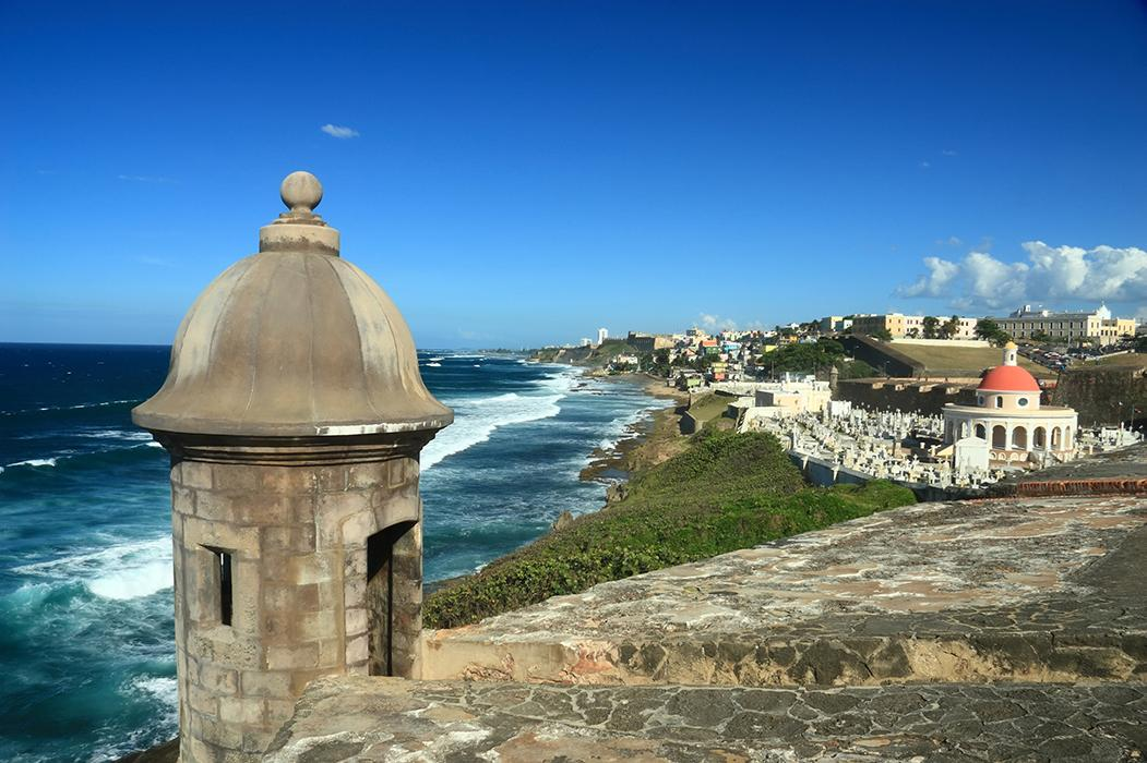 Views of San Juan's old and modern architecture overlooking the coast