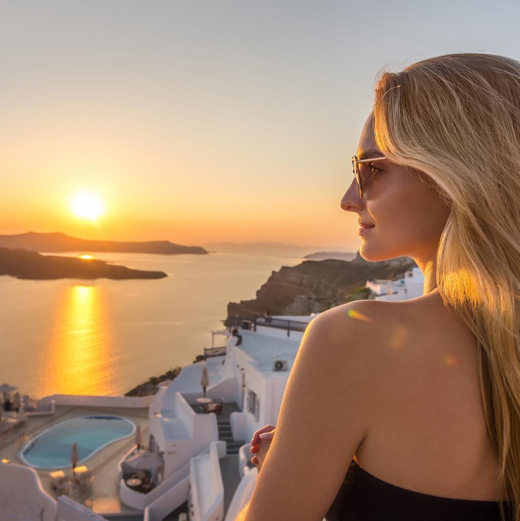 Overlooking the water in Santorini, Greece