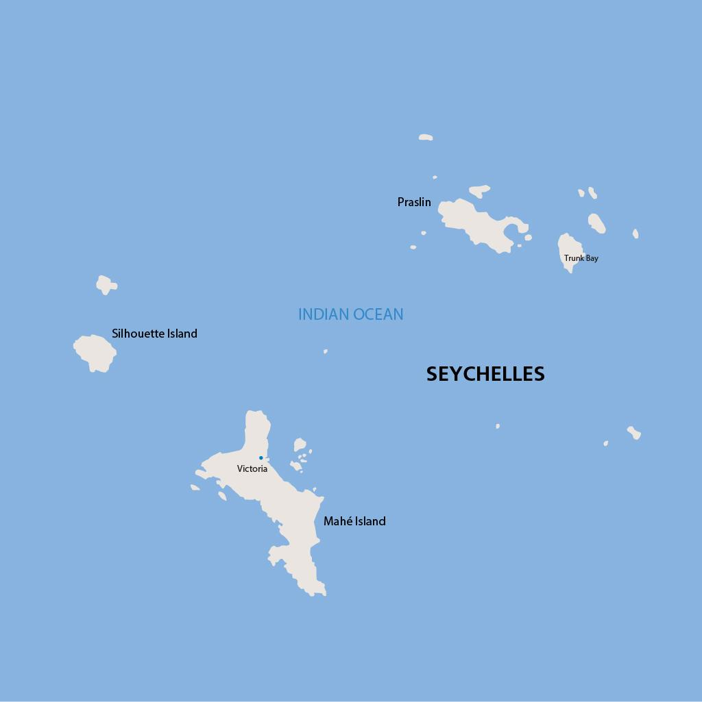 Seychelles vacation map