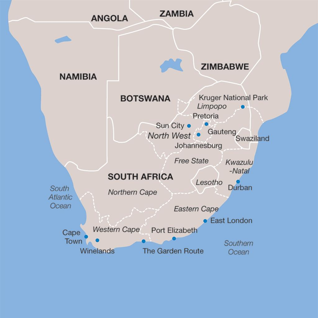 South Africa vacations map