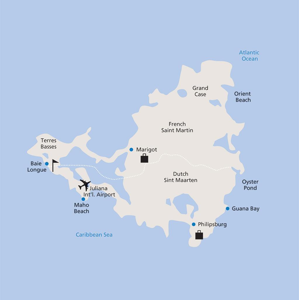 St. Martin/St. Maarten vacation map