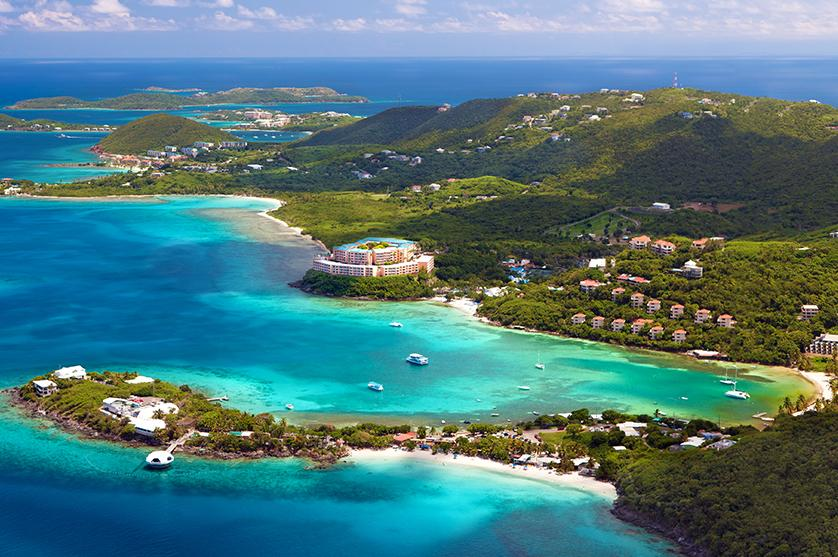 Aerial view of the coastline with beaches in St. Thomas, US Virgin Islands