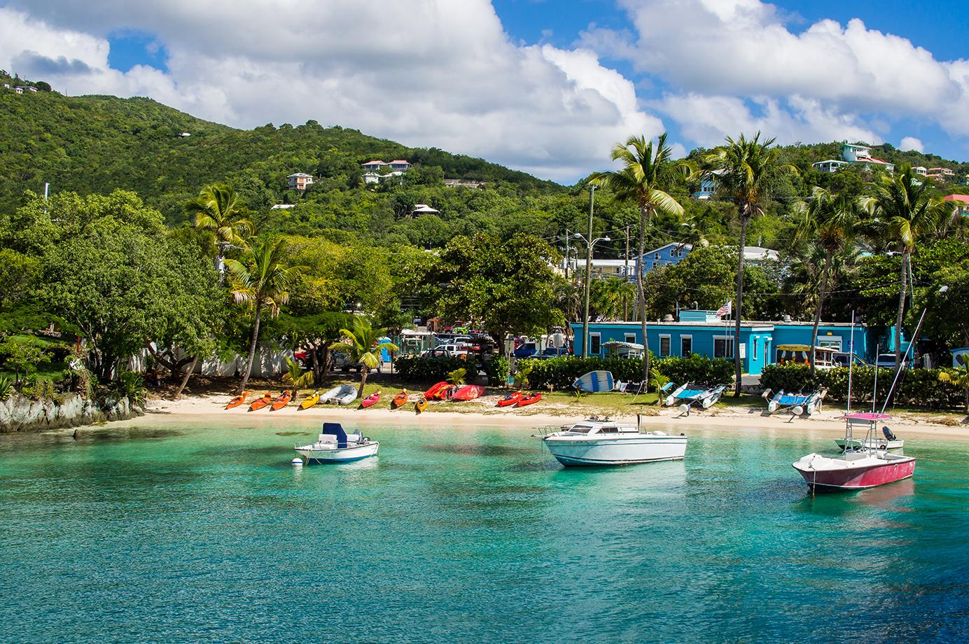 Boats docked at the beach in St. John, US Virgin Islands