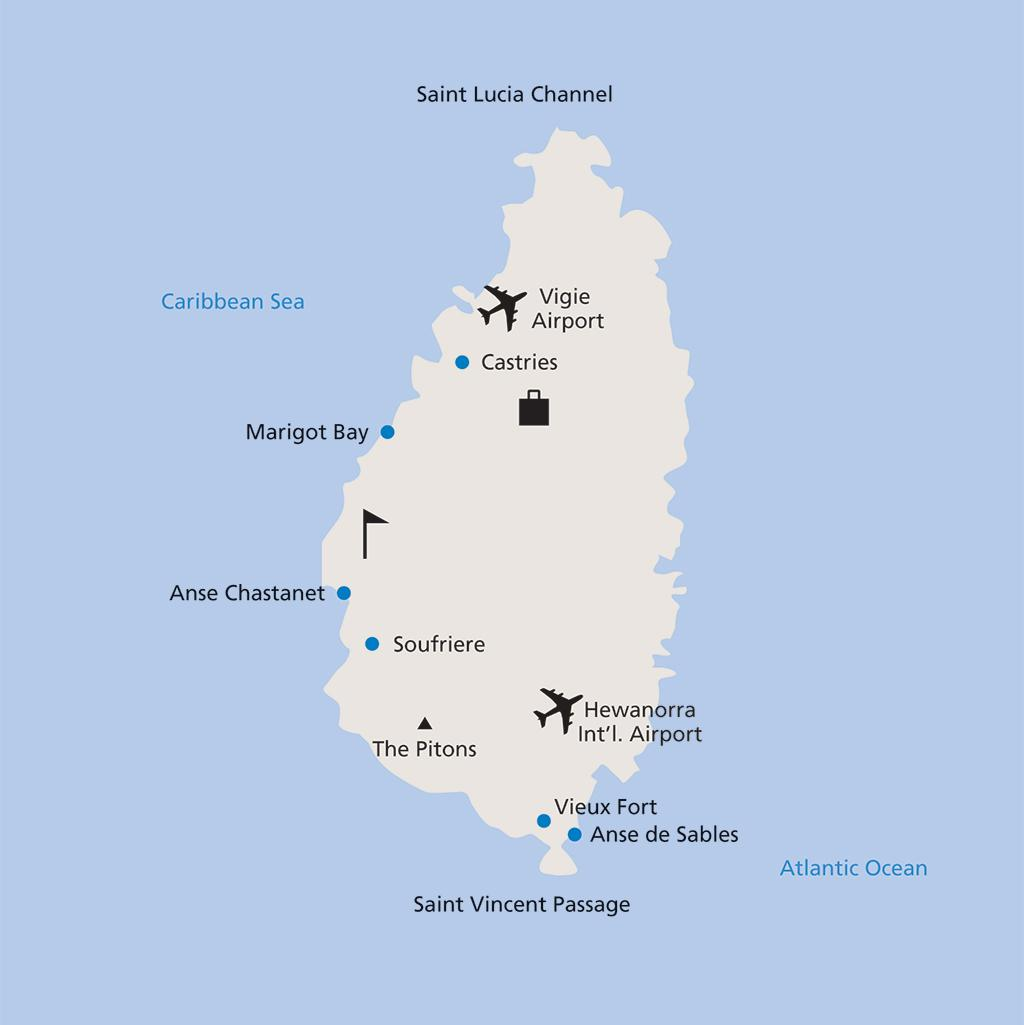 St. Lucia vacation map