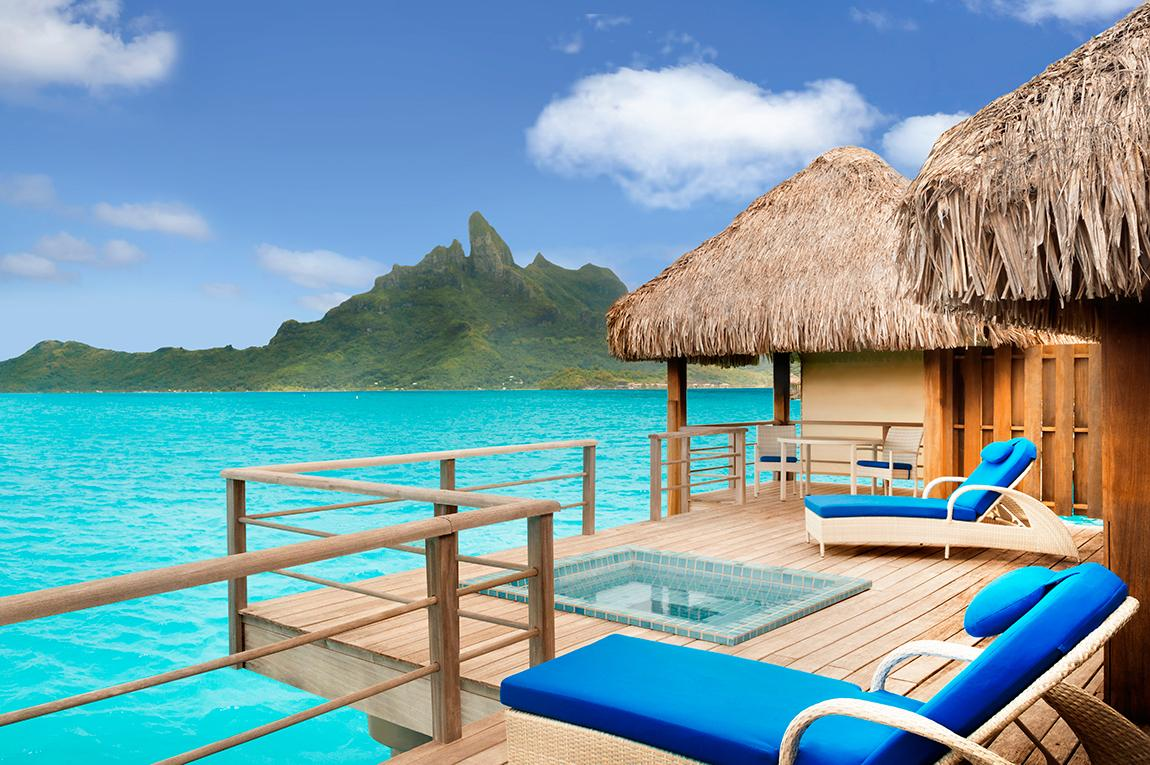 Sit by the pool or by the ocean on St. Regis overwater bungalows