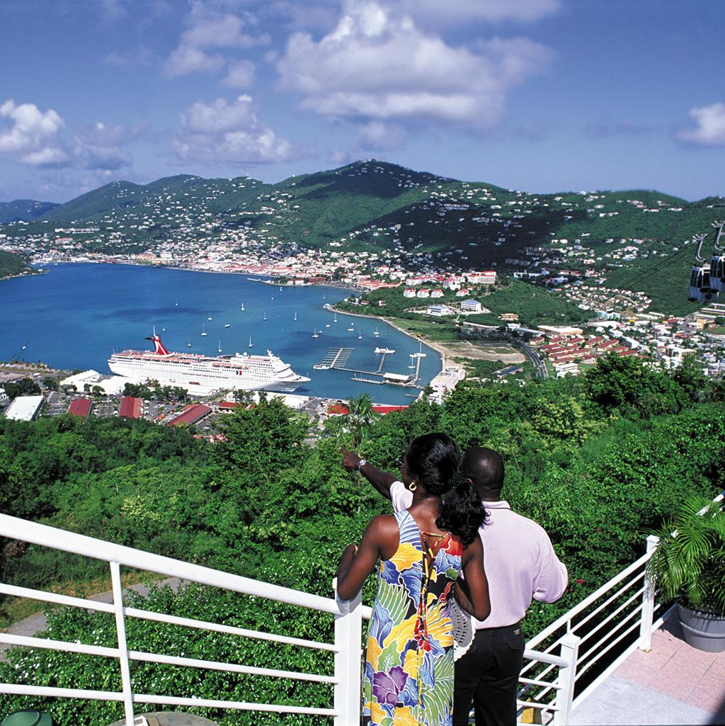 Couple overlooking the harbor and cruise ships in St. Thomas