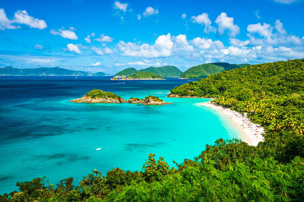 Views of the coastline with beaches in St. Thomas, US Virgin Islands