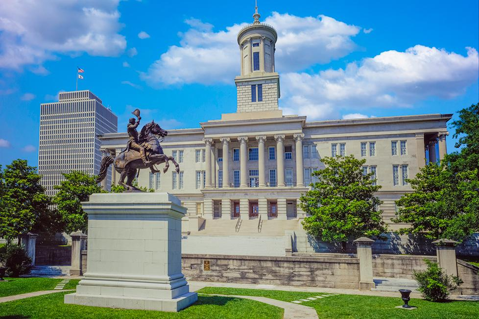 President Andrew Jackson statue in front of the Tennessee State Capitol Building