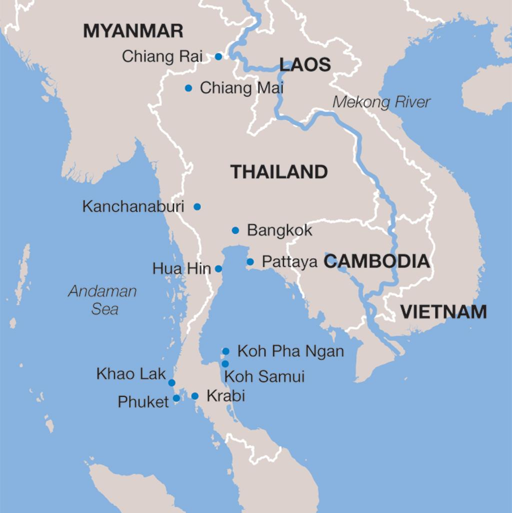 Thailand vacation map