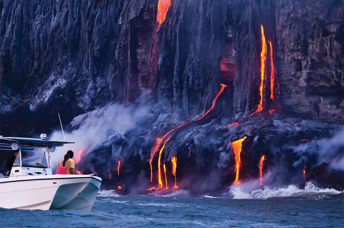 Lava meeting the water on the Big Island of Hawaii's coastline