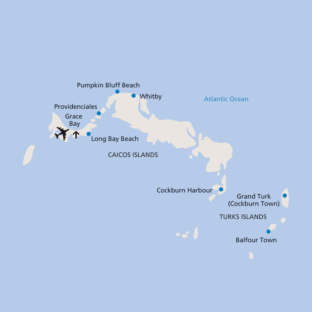 Turks and Caicos vacation map