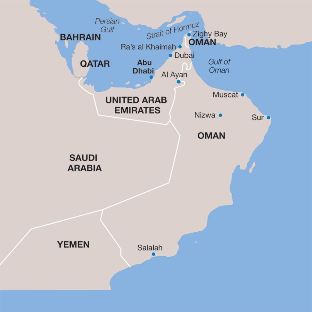 United Arab Emirates vacation map