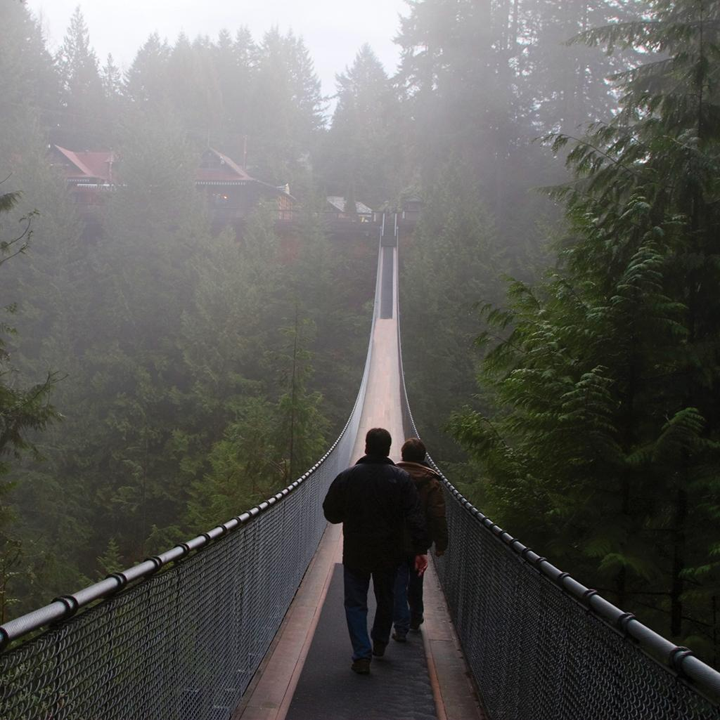 People walking on a suspension bridge over trees in Vancouver