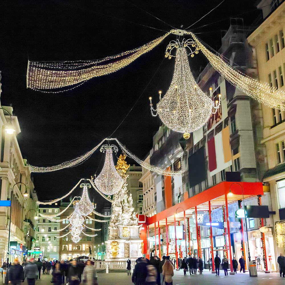 Views of streets strung with holiday lights on a Vienna tour